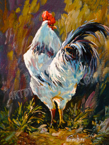 "Mary Gruber ""Rooster 3"" Signed Giclee on Canvas"
