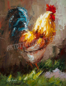 "Mary Gruber ""Rooster 4"" Signed Giclee on Canvas"