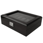 10 Watch Box Black Finish Removable Tray