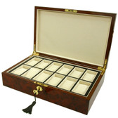 12 Watch Box Removable Tray Burl Wood Inlaid Edge