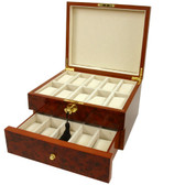 20 Watch Box Chest Burl Wood Inlaid Edge Lock Key Tech Swiss
