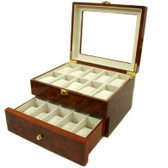 20 Watch Box Glass Window Extra Clearance Latch Burl Wood Finish