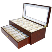 24 Watch Box XL Compartments Clearance Burl Wood Tech Swiss