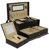 Jewelry Box Leather Black Extra Large With Travel Tech Swiss