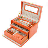 Orange Lizard Grain Leather Jewelry Box from Tech Swiss | TS382OGE | Main