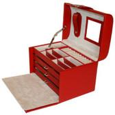 Red Leather Jewelry Box is Crocodile Grain