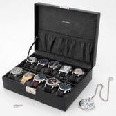 Black Leather Watch Case with Pocket by Tech Swiss | TSA410BLK | Side Photo