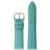 Leather Watch Band with Alligator Grain in Aqua - Top View