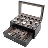 Wood Watch & Jewelry Case for Men   Clear Display Window   Tech Swiss   TSVL200BK   Open