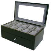 20 Watch Box Burl Wood Black Finish XXL Extra Large