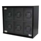 Watch Winder 6 Wood Black Carbon Fiber Design for Large Automatic Watches