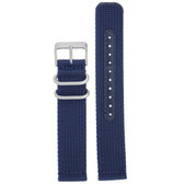 Nylon Watch Band Military Sport Strap Navy Blue Stainless Heavy Buckle