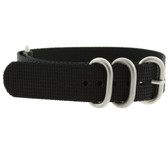 Watch Band Nylon One Piece Black Stainless Steel Buckle
