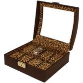 Watch Box Storage Case Brown Leather 10 Watches Window Animal Print