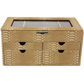 Large Jewelry Box Chest Organizer Animal Print in Beige Brown