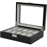 10 Watch Box Large Compartments High Clearance Removable Tray Charcoal Grey Finish Display Glass Window
