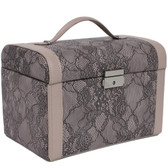 Jewelry Box Case in Fancy Lacey Motif in Mauve