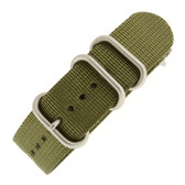 Watch Band Nylon One Piece Olive Green Stainless Steel Buckle