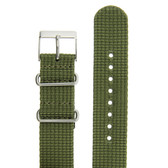 Watch Band Nylon One-Piece Sport Strap Olive Green Stainless Buckle 20mm