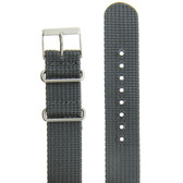 Watch Band Nylon One Piece Sport Strap Grey Stainless Buckle 20mm