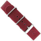 Watch Band Nylon One-Piece Sport Strap Burgundy Red Stainless Buckle 20 mm