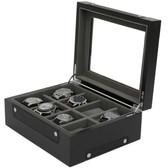 8 Watch Box Sporty Design Black Carbon Fiber Accents
