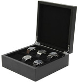 6 Watch Box Engravable Plate Wood Black Finish