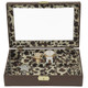 Valet Ladies Watches Jewelry Leather Storage Brown Leopard - Main
