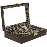 Valet Ladies Watches Jewelry Leather Storage Brown Leopard