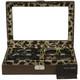 6 Eyeglasses Sunglasses Storage Case Leather Brown Leopard - Main