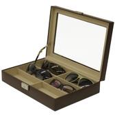 6 Eyeglasses Sunglasses Storage Case Leather Brown
