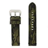 XL Leather Watch Band Camouflage Military Green Extra Heavy Buckle