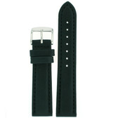 Waterproof Leather Sport Watch Band in Black - Main