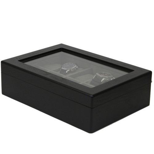 10 Watch Box Black Ash Finish Large Compartments High Clearance Glass Window - Main