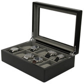 10 Watch Box Black Ash Finish Large Compartments High Clearance Glass Window