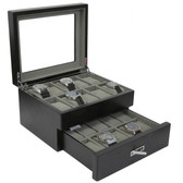 20 Watch Box Black Ash Finish Large Compartments High Clearance Glass Window