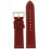 Watch Band Leather Red White Stitching Heavy Buckle