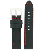 Black Watch Band with Carbon Fiber Pattern and Red Top Stitching - Top View