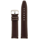 Leather Watch Band in brown with white topstitching by Tech Swiss - Top View