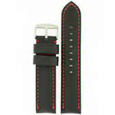 Long Leather Watch Band in Black with Red Topstitching by Tech Swiss - Top View