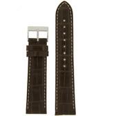 Watch Band Genuine Alligator Matte Dark Brown With contrast stitching