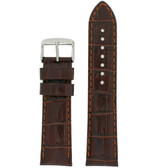 Brown Crocodile Grain Watch Band by Tech Swiss - Top View