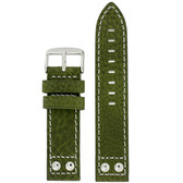 Pilot Leather Watch Band in Green by Tech Swiss - Top View