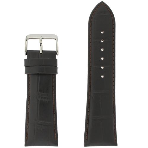 Crocodile Grain Watch Band in Dark Brown - Top View
