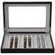 Pen Display Box in Black by Tech Swiss - Front View Open