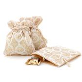 Burlap Beige Lace White Party Favor Gift Bags - 20 Pieces