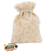 Burlap Beige Lace White Party Favor Gift Bags - 20 Pieces M