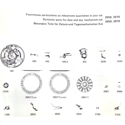 ETA 2870 watch parts