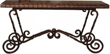 Carved Iron Base Console Table