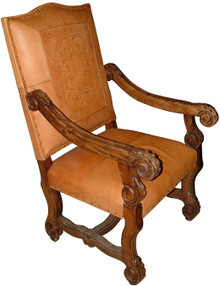 Mesquite Carved Leather Arm Chair